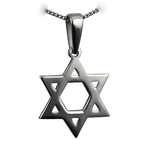 Silver 27x27mm plain Star of David Pendant on a bail with a curb Chain 20 inches