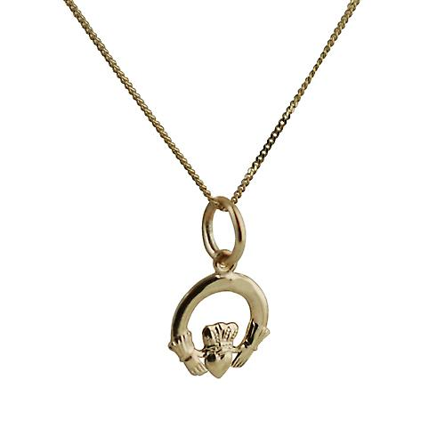 9ct Gold 10x10mm Claddagh Pendant with a curb Chain 18 inches