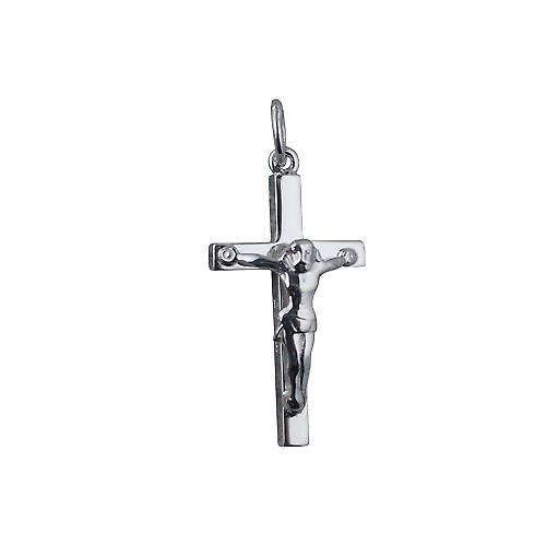 9ct white gold 25x15mm solid block Crucifix Cross