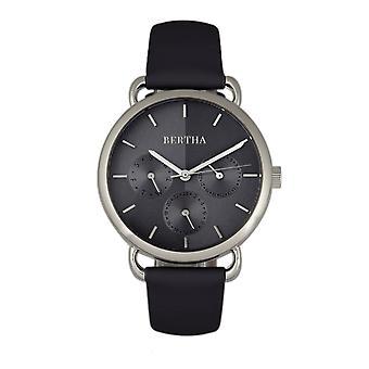 Bertha Gwen Leather-Band Watch w/Day/Date - Black