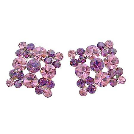 Amethyst Light & Dark Crystals Gorgeous Crystals Flower Earrings