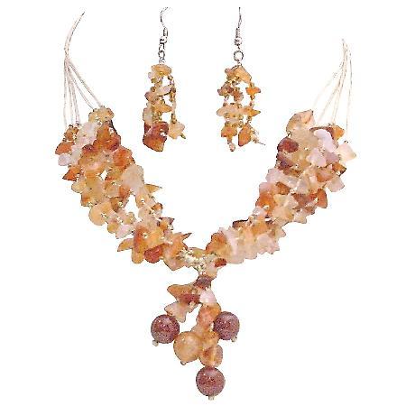 Youthful Jewelry Sensual Carnelian Stone Nugget Woven In Silk Thread