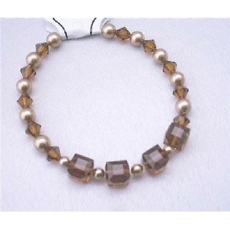 Wedding Bracelet Bronze Pearls Swarovski Smoked Topaz Crystals