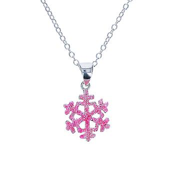 Jo For Girls Sterling Silver Pink Glittery Snowflake Pendant Necklace 14
