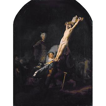 The Raising of the Cross,Rembrandt,50x37cm