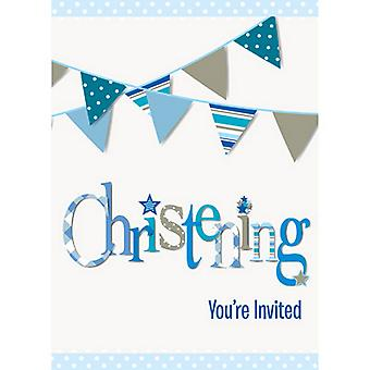 Unique Party Bunting Christening Invitation Cards (Pack Of 8)