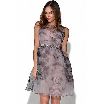 Little Mistress Muted Floral Fit & Flare Dress