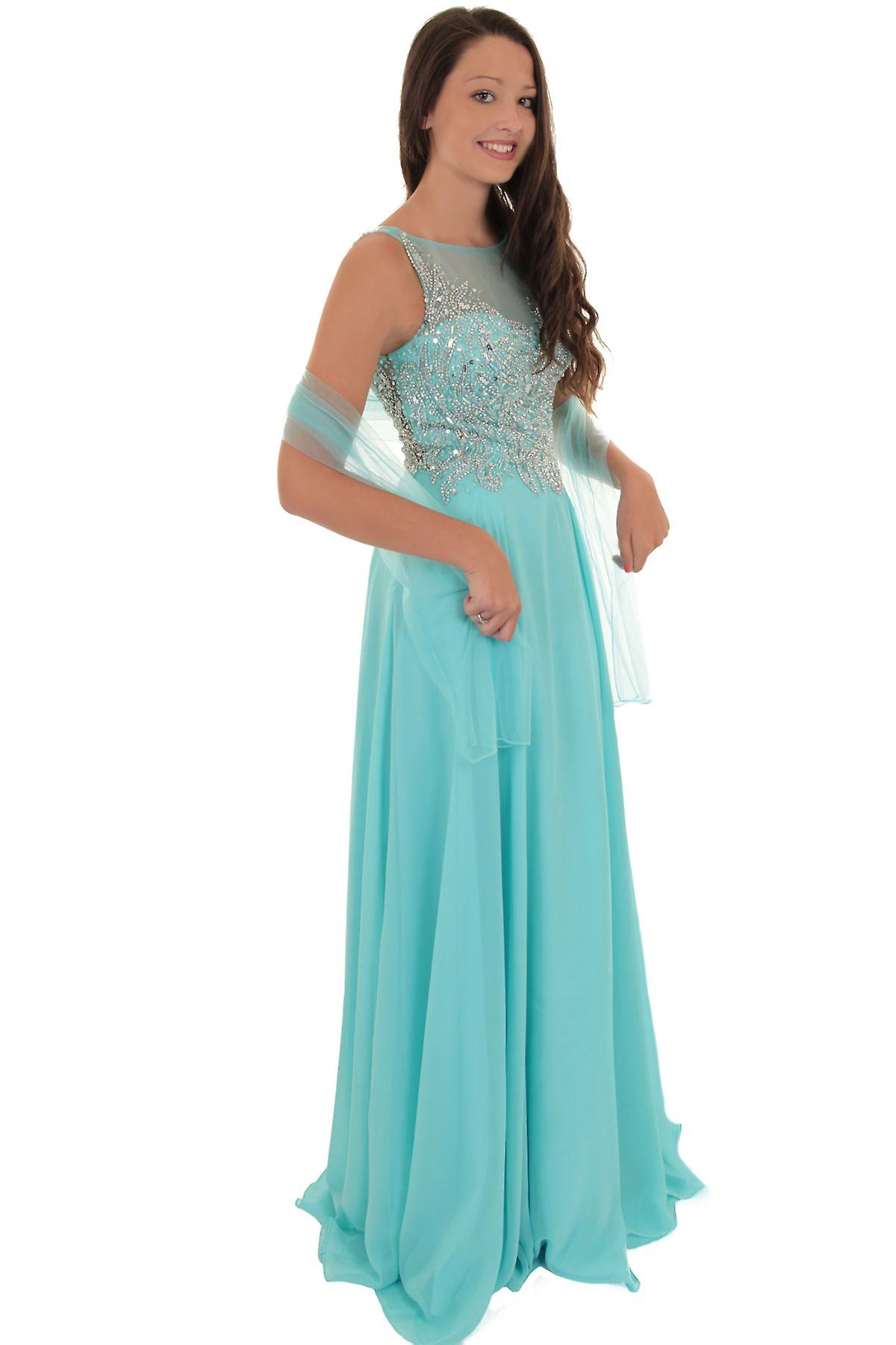 Sleeveless Long Low Back Mesh Chiffon Prom Evening Bridesmaid Party Dress