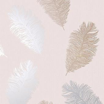Veren behang glitter metallic Rose goud zilver Blush roze getextureerde Holden