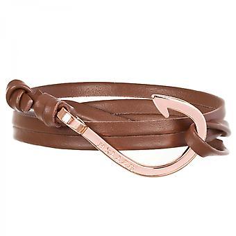 Holler Kirby  Rose Gold Polished Hook / Brown Leather Bracelet  HLB-03RGP-L04