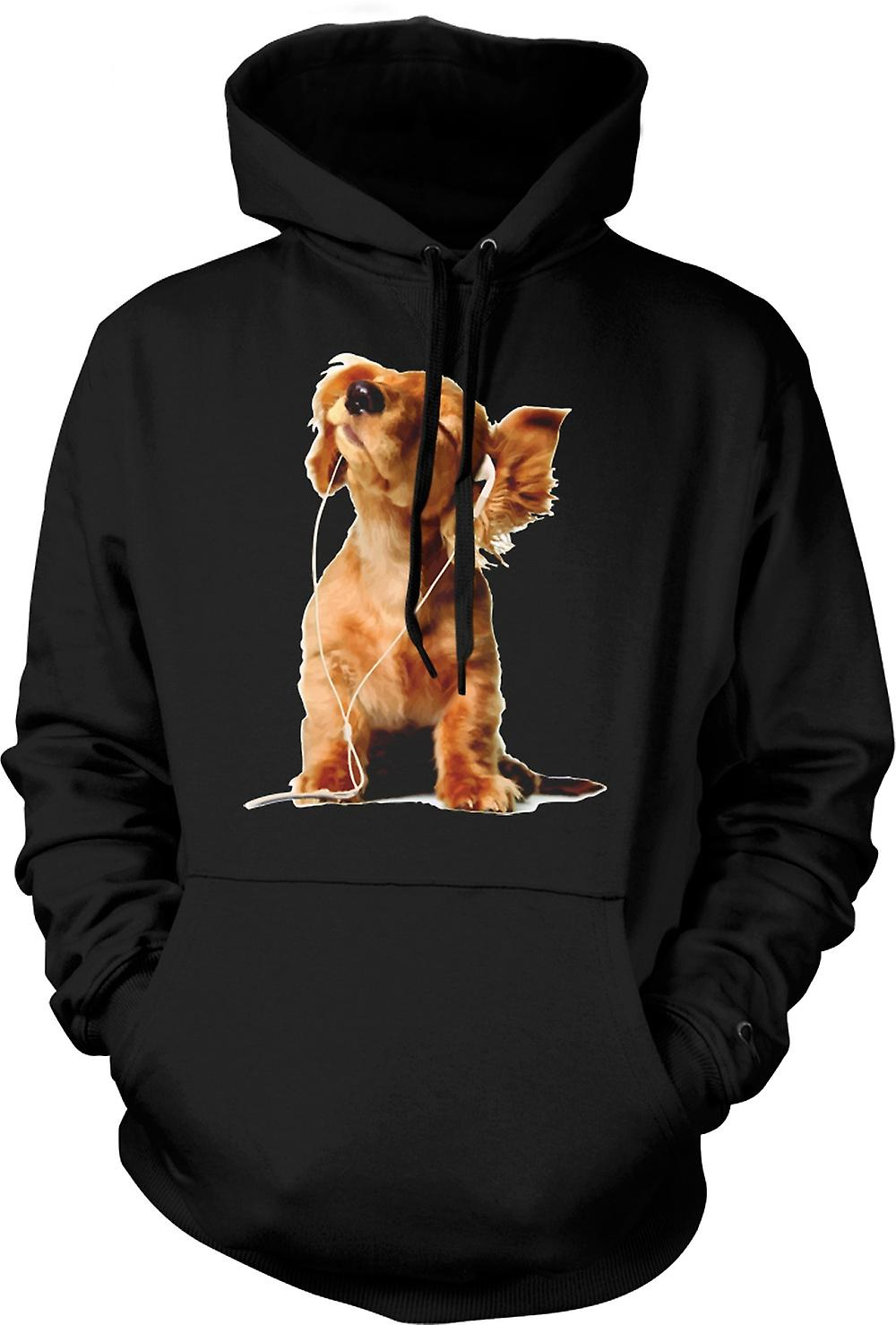 Mens Hoodie - Spaniel Listening To Ipod - Cute