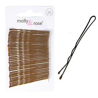Molly & Rose Brown Hair Grips 45mm 36 Pack X 3