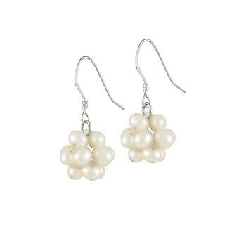 Ewige Sammlung Cluster weißen Süßwasser Perlen Sterling Silber Tropfen Ohrhänger