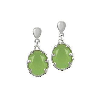 Eternal Collection Asia Green Opal Crystal Silver Tone Drop Clip On Earrings