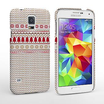 Caseflex Samsung Galaxy S5 Christmas Knitted Snowflake Jumper Hard Case Brown Red White