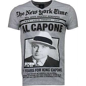 Al Capone-Rhinestone T-shirt-Grey