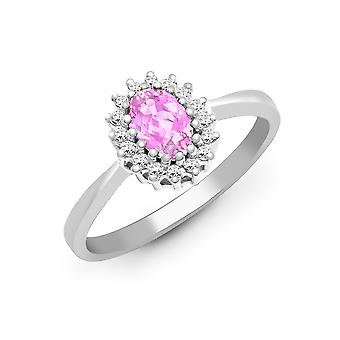 Jewelco London 9ct White Gold H I2 0.12ct Diamond and Oval Pink 0.68ct Sapphire Classic Royal Cluster Ring 9mm