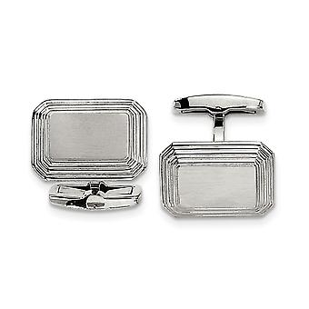 Stainless Steel Brushed Polished Engravable Cuff Links