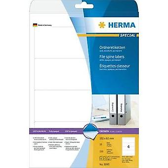 Herma 5095 Labels (A4) 61 x 192 mm Paper White 100 pc(s) Permanent Lever arch file labels Inkjet, Laser, Copier