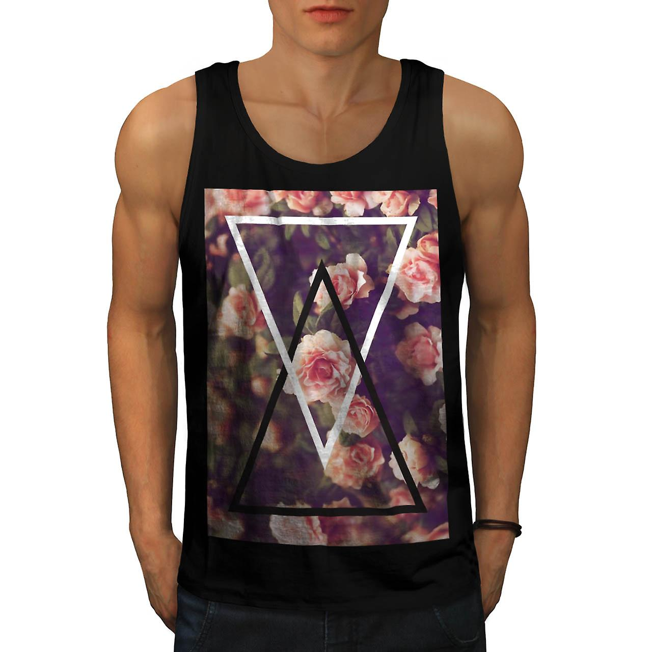 Romantic Rose Triangle Love Shape Men Black Tank Top | Wellcoda
