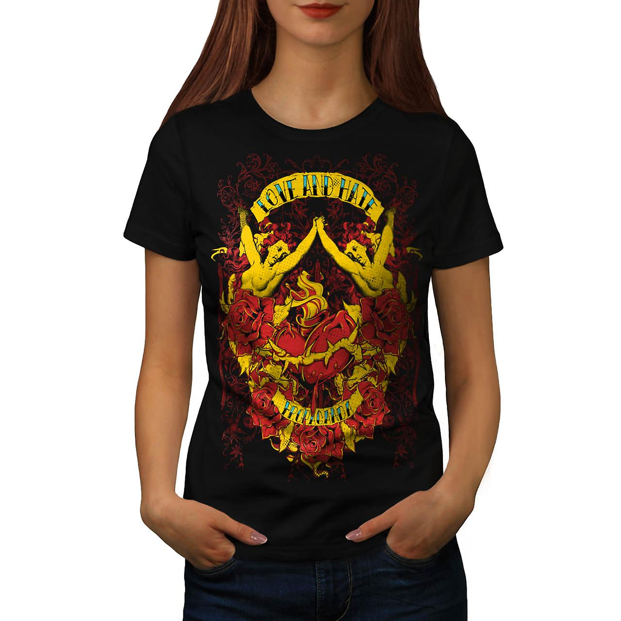 Love And Hate Angels Propaganda Women Black T-shirt | Wellcoda