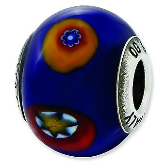 Sterling Silver Polished Antique finish Italian Murano Glass Reflections Italian Blue With Decorative Accents Glass Bead