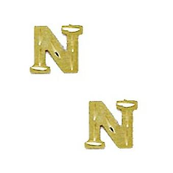 14k Yellow Gold Initial N Stamping Children Earrings - Measures 6x7mm