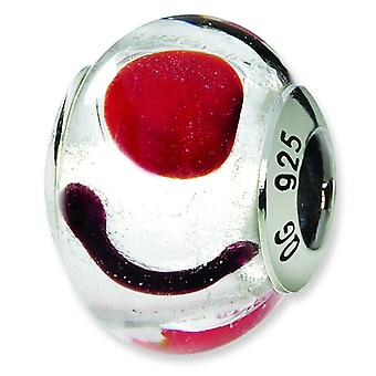 Sterling Silver Reflections White Red Black Italian Murano Bead Charm
