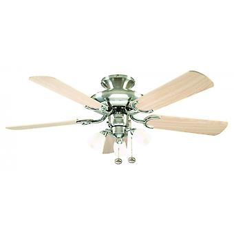 Ceiling Fan Mayfair Combi brushed steel with light 107 cm / 42