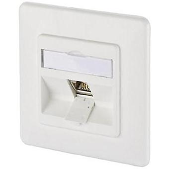 Network outlet Flush mount Insert with main panel and frame CAT 6A 1 port Metz Connect 1309111002-E Pure white