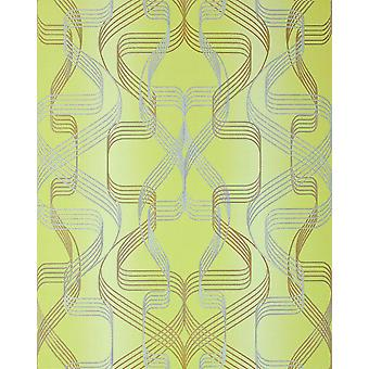 Graphic wallpaper EDEM 507-21 designer wallpaper yellow green structured perl-gold silver with abstract pattern and metallic accents 5.33 m2