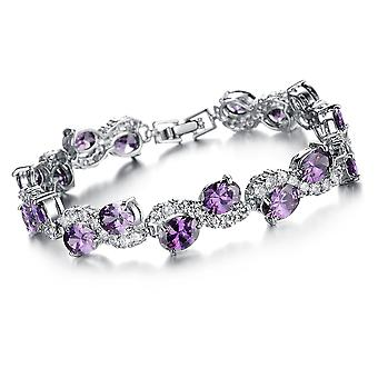 Platinum Plated Purple Cubic Zirconia Bracelet, 20cm