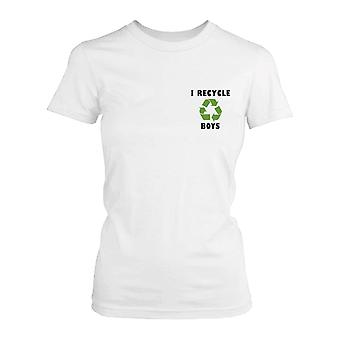 I Recycle Boys Cute Pocket Printed Women's Shirt Funny Graphic Tee for Ladies
