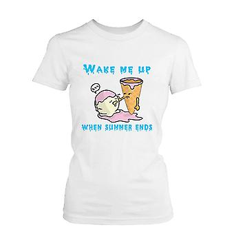 Me despierta cuando termina el verano T camisa humor blanco de verano divertida camiseta helado mujer