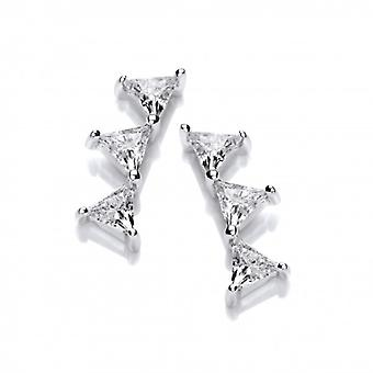 Cavendish French Silver and cubic zirconia triangle climber earrings