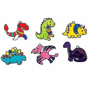 24 Dinosaur Plastic Suncatchers for Kids Glass Painting Crafts