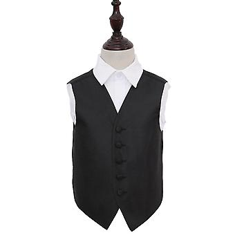 Boy's Greek Key Black Wedding Waistcoat
