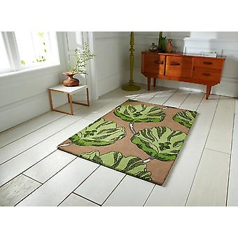 High Quality Green & Brown Flower Motif Wool Rug Sorrento 30