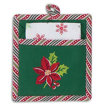 Red and Green Poinsettia Embroidered 2 Piece Holiday Mitt Towel Kitchen Gift Set