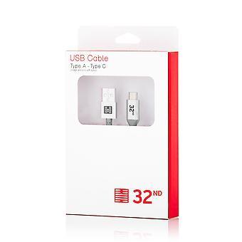 32nd mærkevarer flettet Nylon USB Type C til USB kabel 1m - sølv