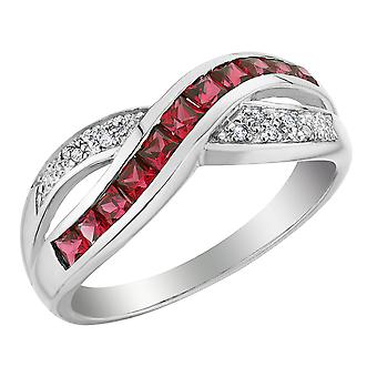 Created Ruby Infinity Ring with Diamonds 1/2 Carat (ctw) in 10K White Gold