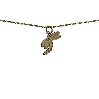 9ct Gold 19x12mm Dragonfly Pendant with a cable Chain 16 inches Only Suitable for Children