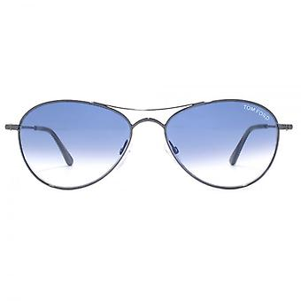 Tom Ford Oliver Sunglasses In Shiny Dark Ruthenium