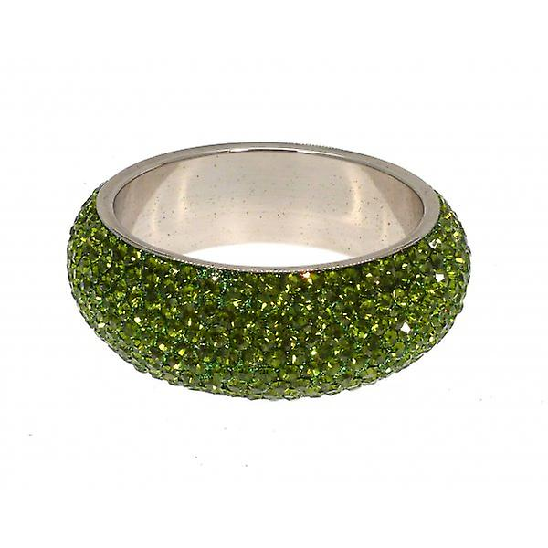 W.A.T Chunky Crystal Bangle Olive Green Crystals