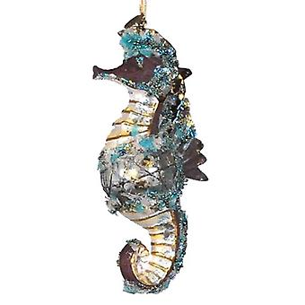 Encrusted Glitterey Rust Seahorse Holiday Ornament Katherine's Collection