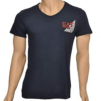 EA7 Emporio Armani Sea World Core Eagle V-Neck T-Shirt, Blue, Small
