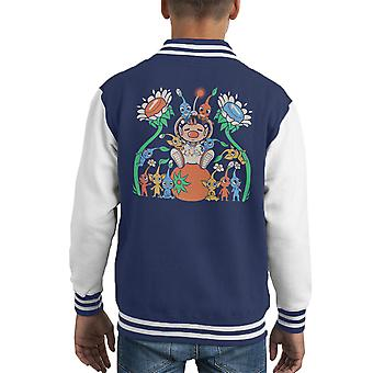 Pikmin Friendly Alien Flora Kid's Varsity Jacket