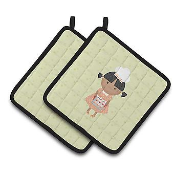African American Baker on Green Pair of Pot Holders