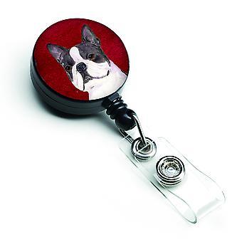 Boston Terrier versenkbare Abzeichen Reel oder ID-Halter mit Clip