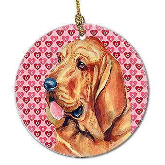 Carolines Treasures  LH9151CO1 Bloodhound Valentine's Love and Hearts Ceramic Or
